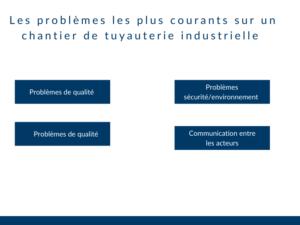 Chantier tuyauterie industrielle difficultés
